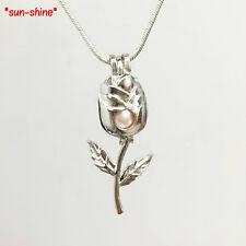 BULK BULK! 5PCS ROSE Flower Cage Pendant for Akoya Oyster Pearl