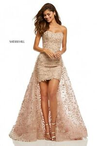 Sherri-Hill-Lace-Evening-Dress-Rose-Gold-Size-2-Engagement-Party-Ball-Gown