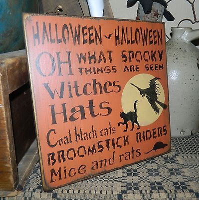 PRIMITIVE TYPOGRAPHY HALLOWEEN SIIGN~~BROOMSTICK RIDERS~WITCHES~HATS~SPOOKY~~
