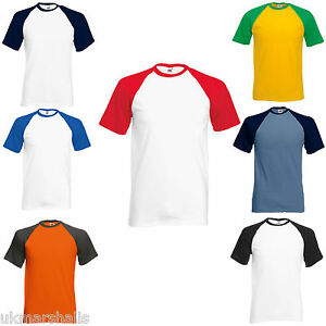 BC327 Fruit Of The Loom Mens Short Sleeve Plain Baseball T-Shirt//Tee//Top