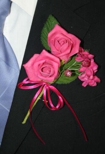 457 cerise hot pink foam rose buttonhole satin ribbon artificial wedding flower