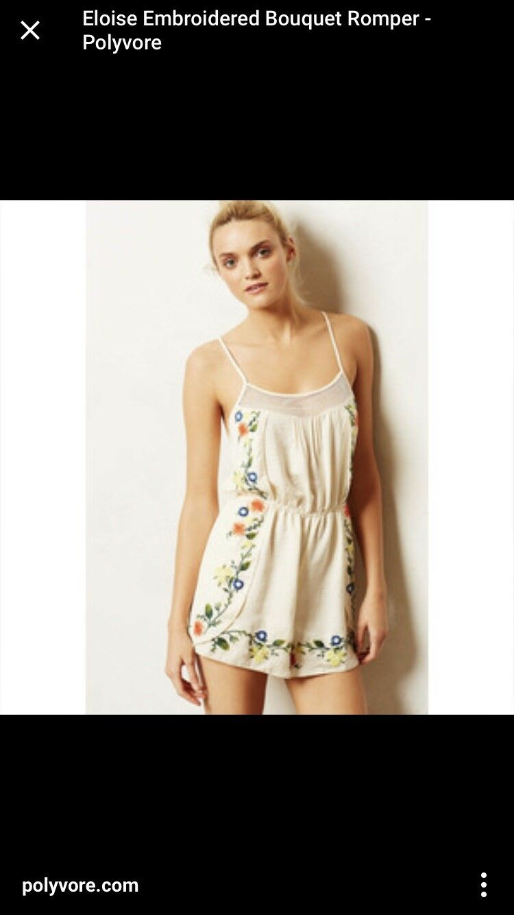 Anthropologie Eloise Embroidered Bouquet Romper