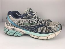 Brooks Ghost 4 Women US 7 White + Blue Athletic Running Shoes  J31