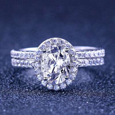 Women/'s 925 Sterling Silver Egg Shape Two Rings Set Wedding Engagement Ring R145