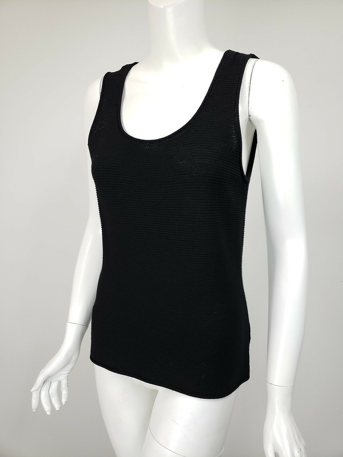 ST JOHN Gelb LABEL schwarz Texturot Wool Blend Scoop Neck Tank sz S