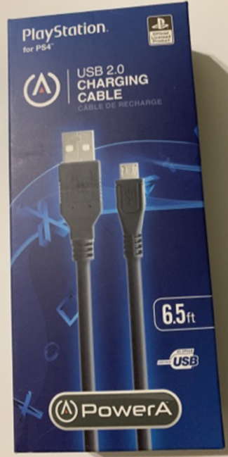 BD/&A PlayStation 6.5/' USB 2.0 Charging Cable for PS4 Black