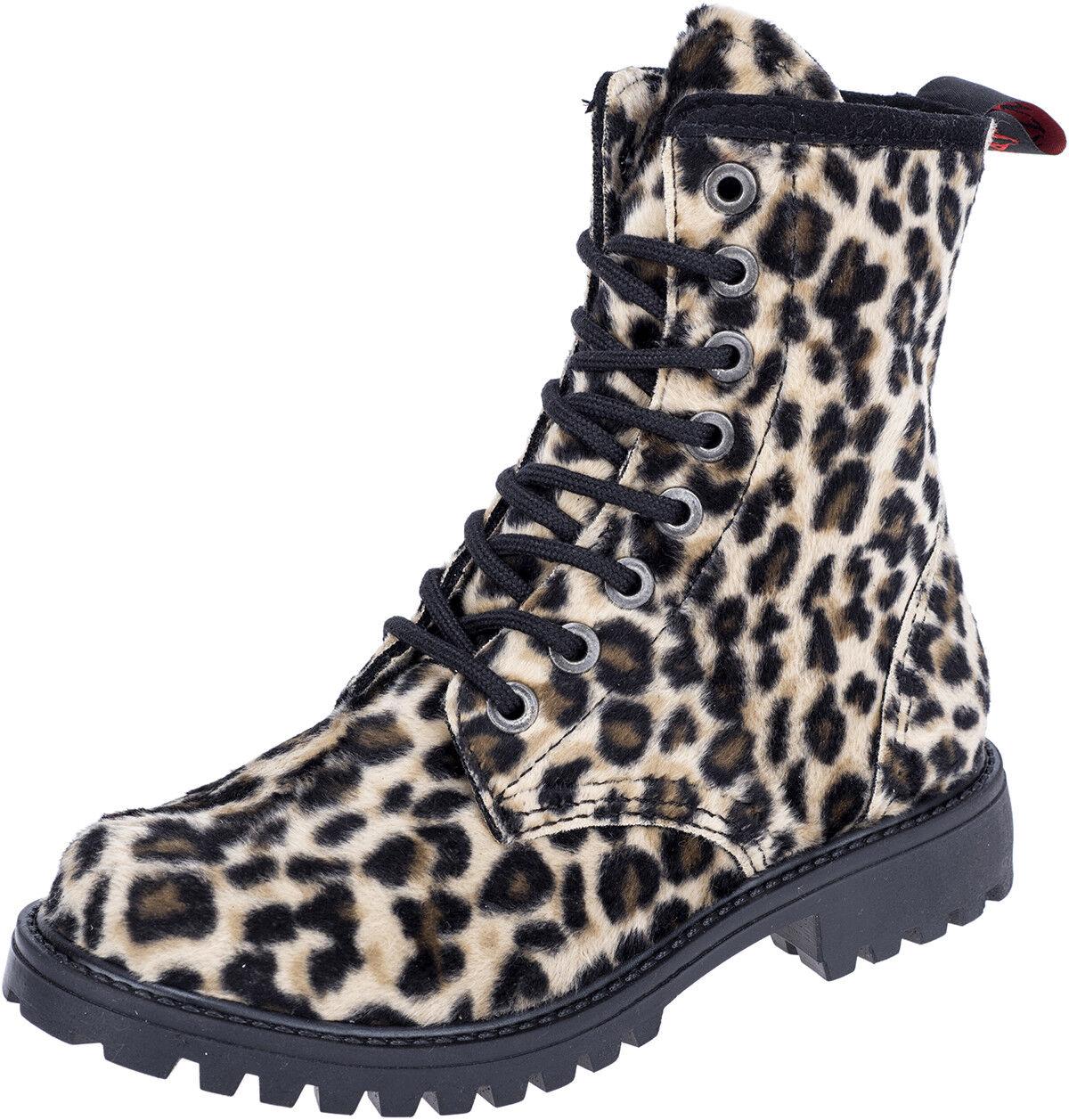Aderlass FAKE FUR 8-Eye LEOPARD Stiefel STIEFEL Schuhe Rockabilly