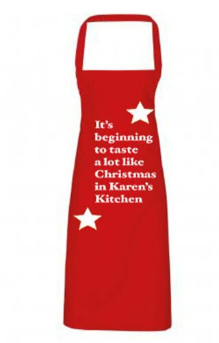 Mens Womens Personalised Christmas Cooking Baking Apron Red Green Xmas Gift