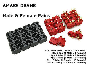 GENUINE-AMASS-Male-amp-Female-Pair-Deans-T-Plugs-amp-Insulated-Caps-Connectors-NEW