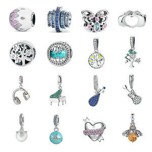New-925-Sterling-Silver-Charm-Pendant-Crystal-amp-CZ-Bead-fit-Women-Bracelet