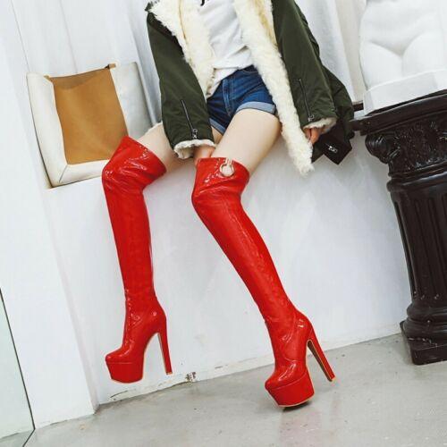 34-48 Women/'s Overknee Thigh High Boots Pull On Very High Heel Platform Runway D