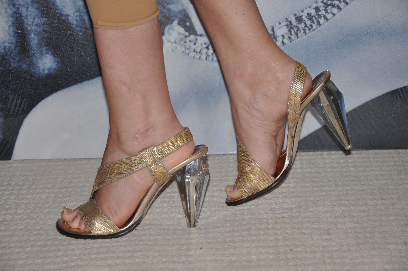 PARTY  MARC JACOBS  gold REAL LEATHER REPTILE LIZARD LIZARD LIZARD SHOES SANDALS&CLEAR HEELS 5 c20258