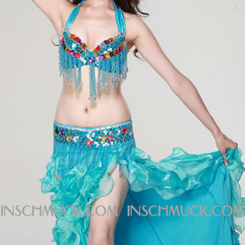A013 Professionale Costume Danza Ventre 3 Condividi REGGISENO Cintura Gonna
