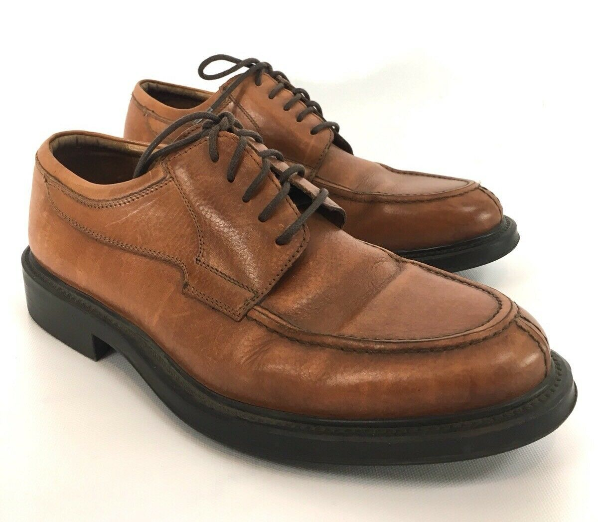 BOEMOS Uomo Oxfords Shoes Split Moc Toe Brown Pelle in Size 10.5 Made in Pelle Italy f7679d