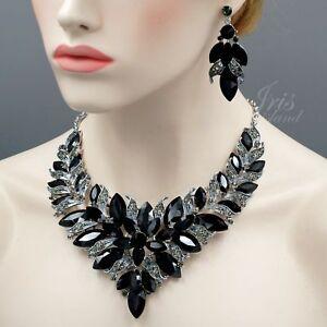 5d6106e6446d La imagen se está cargando Precioso-Chapado -en-Rodio-Cristal-Negro-Collar-Pendientes-
