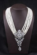 Collier Mi Long Argenté Multirang Perle Blanc Cristal Mariage Retro AMN 1