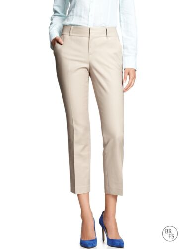 NWT Banana Republic Factory Martin-Fit Crop Length Pants Natural Sz 8P