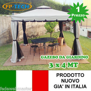 GAZEBO-3X4-GIARDINO-IN-ALLUMINIO-TELO-ANTIPIOGGIA-PVC-ZANZARIERA-TELI-ANTIVENTO
