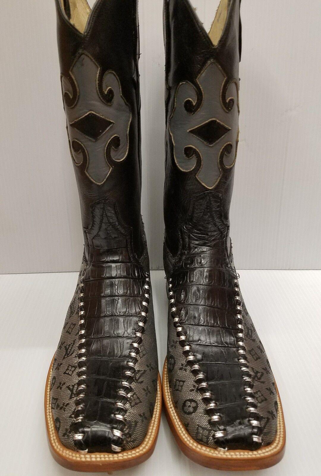 Men's BOOTS & BELT ALLIGATOR BELLY   FASHION LOGO SQUARE TOE BOTAS RODEO