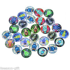 50PCs Mixed Flowers and Owl Glass Flatback Scrapbooking Dome Cabochons 12mm