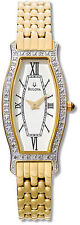 Bulova 98W03 26 Diamond White dial Gold-Tone Stainless Steel Women's Wristwatch