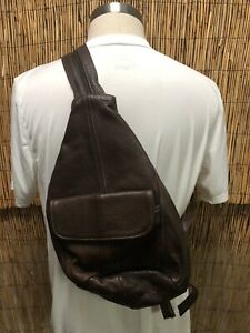 Leather-Sling-Bag-Crossbody-Chest-Bag-One-Strap-Backpack-Brown-Made-in-Mexico
