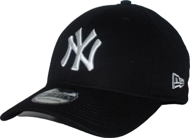 New Era 39thirty NY Yankees White on Black Stretch Fit Curve Peak Hat Cap