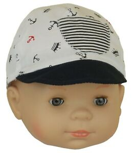 00501548d Details about BabyPrem Baby Hat Boys Nautical Seaside Peak Cap Anchor Navy  White 0-3 3-6