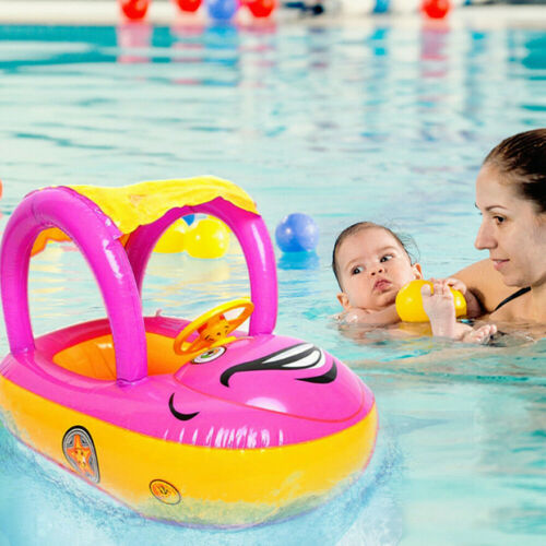 Inflatable Baby Swim Ring Toddler Float Kid Swimming Pool Water Seat with CANOPY