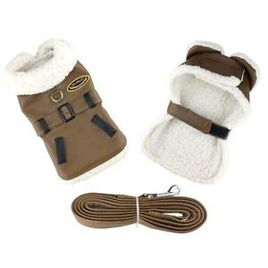 Doggie-Design-Brown-and-Black-Faux-Leather-Bomber-Dog-Coat-Harness-and-Leash