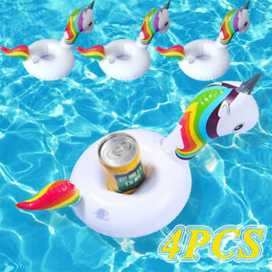 Details about 4Pcs Inflatable Coasters Unicorn Mini Gifts Float Cup Holder  For Swimming Pool