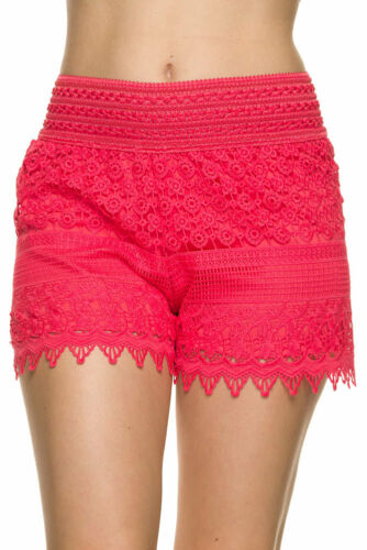 PULL ON Scallop LACE CROCHET Tiered High Waisted Elastic Band Casual Mini Shorts
