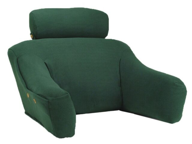 Bed Lounge Back Bed Wedge Reading Pillow Green Cotton, Great Back Cushion w/Arms
