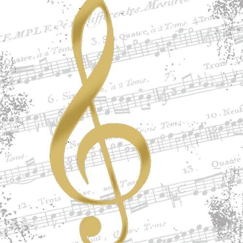 Napkin Art I Love Music Gold 4 x Paper Napkins Ideal for Decoupage