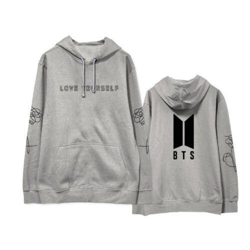 KPOP BTS Black Hoodie Bangtan Boys Sweatershirt Love Yourself Pullover JUNG KOOK