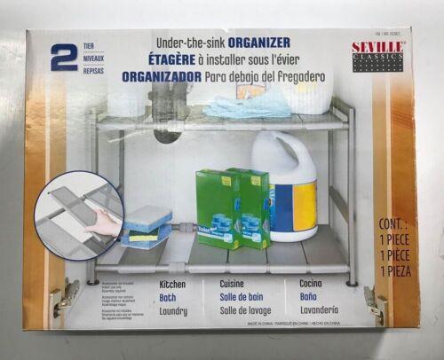 Adjustable Shelves 4 PACK New Seville Classics Under-The-Sink Organizer 2 Tier