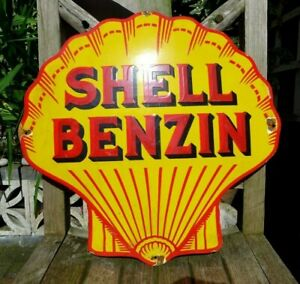 Vintage Enamel Shell Benzin Metal Sign Painted Poster Wall Decor 48.5 x 49.5
