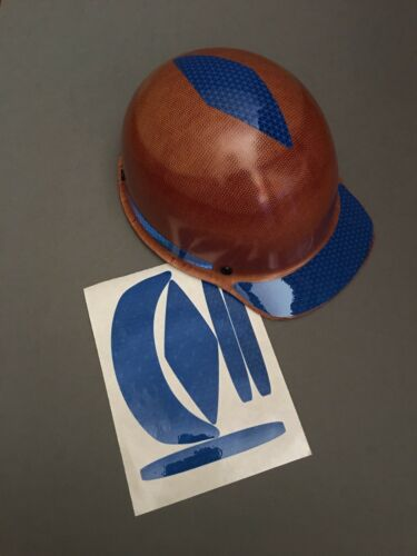 Hard Hat Decal Sticker Kit Reflective Blue Turtle Shell Cap
