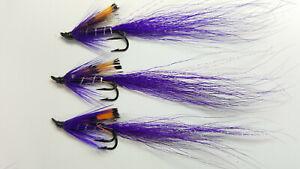 3x Salmon Flies Black Allys shrimp Partridge Patriot Double Size 8