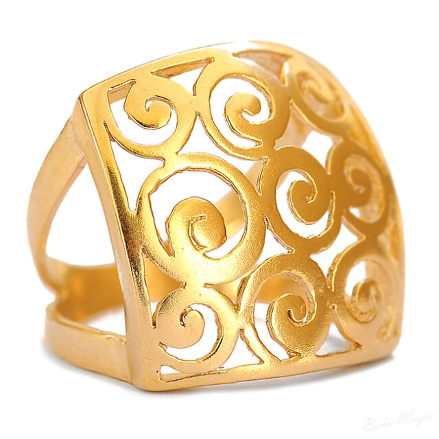 Yellow Gold Filled 14k Oversize Ring Warranty Sizeable Spirals Tribal Artisan