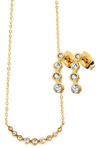 Edelstahl Schmuckset Kette Halskette Ohrringe Ohrstecker Gold Farben + Zirkonia