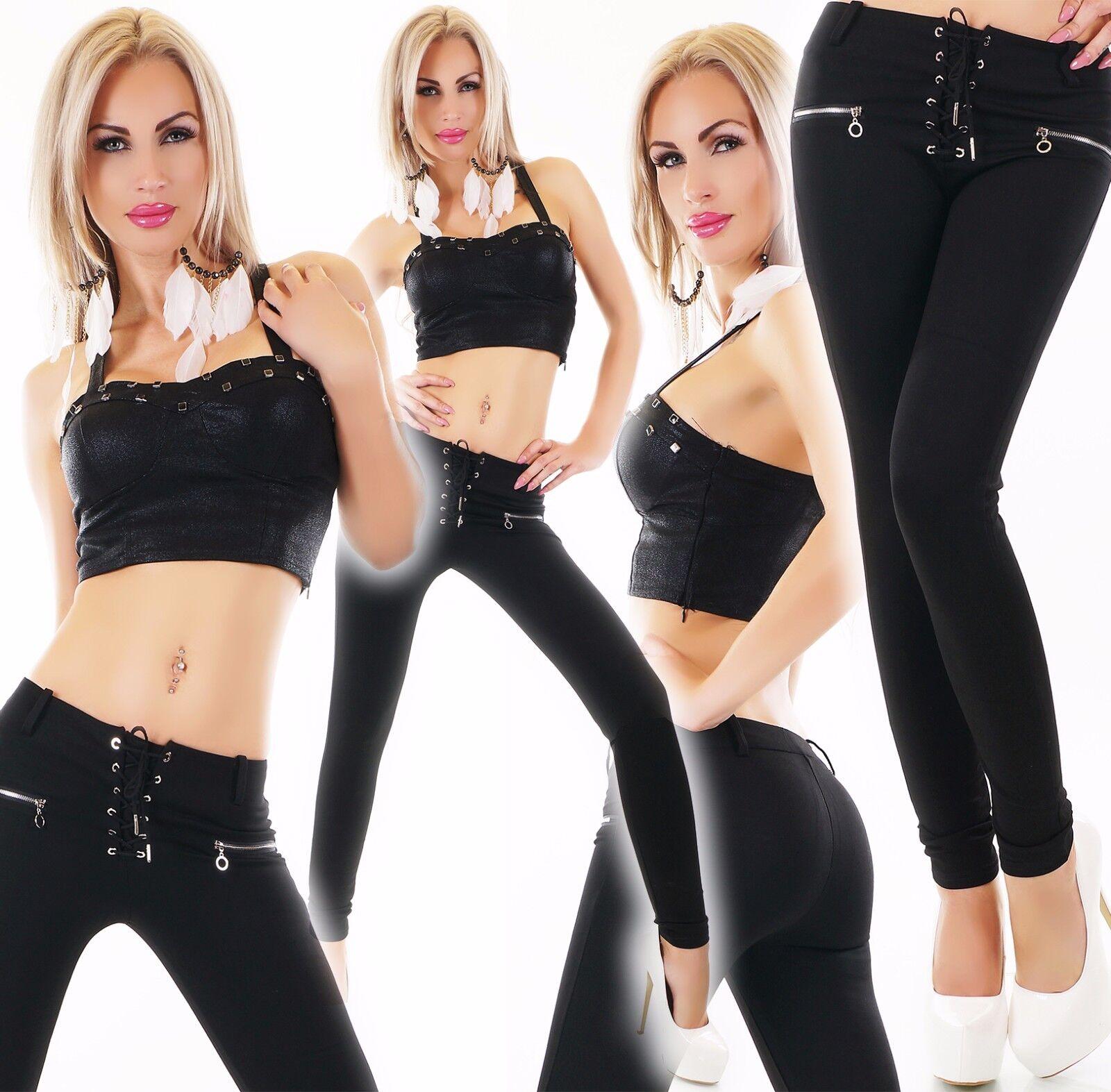 women Hosestoffhose a Sigaretta Tregging Elasticizzato Lacci Zip black S M L