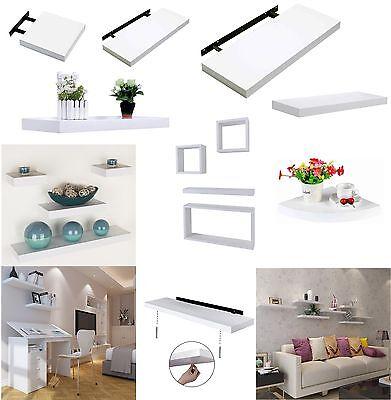 Hudson High Gloss Floating Shelves Wall Mounted Shelf Unit Kitchen Home New