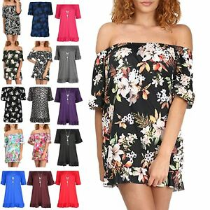 Plus Size Womens Ladies Off Shoulder Bardot Peplum Frill Sleeve Mini Dress Top
