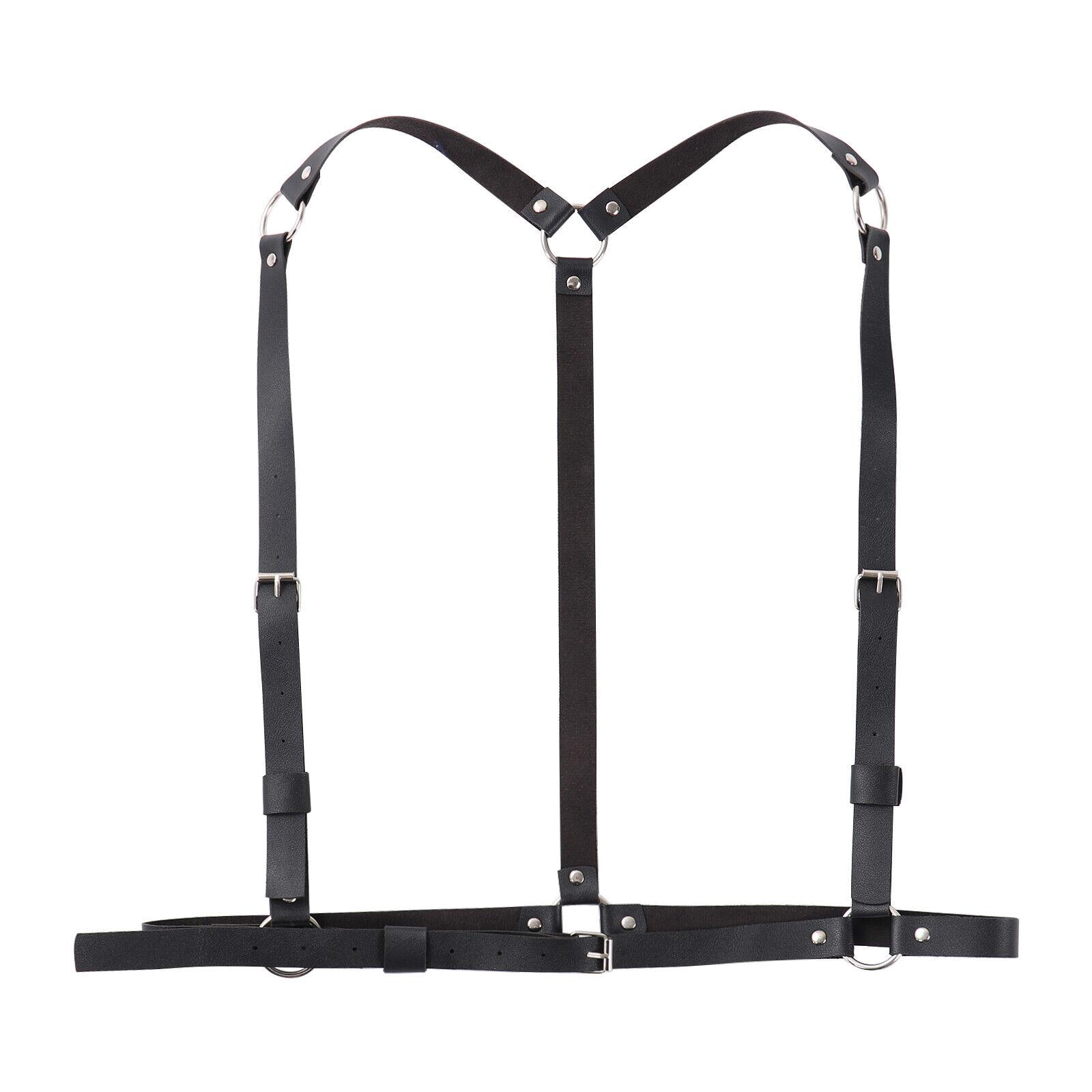Men Leather Rivet O-ring Shoulder Belt Lingerie Harness Pole Dance Clothing Wear