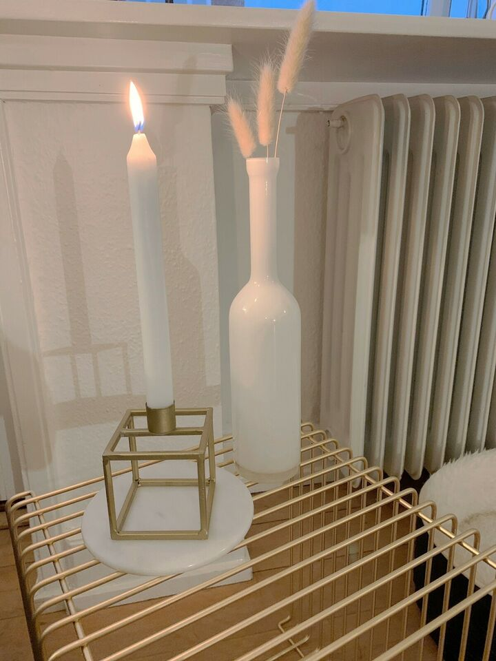 Cube lysestage og flot hvid vase