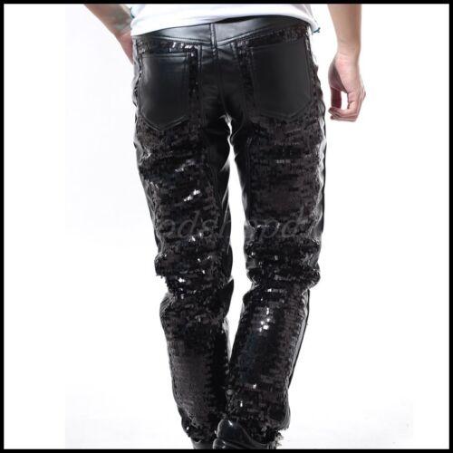 Mens Rock Sequins Punk Casual Pants Loose Dance Nightclub DJ PU Leather Trousers