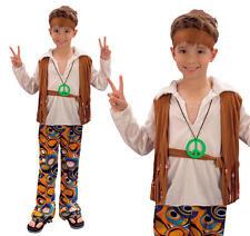 Childrens Hippy Boy Fancy Dress Costume 60S 70S Retro Hippie Outfit L