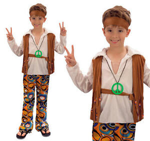 Childrens-Hippy-Boy-Fancy-Dress-Costume-60S-70S-Retro-Hippie-Outfit-L