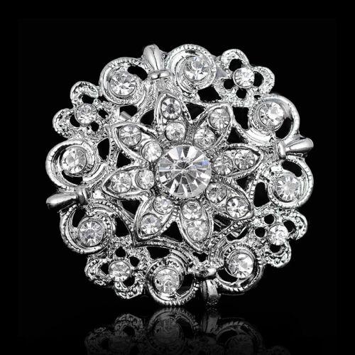 Damas Rhinestone flor de cristal broche del botón de la joyería nupcial I8D8